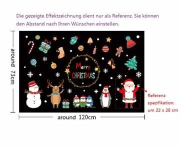 Ohighing Fensterdeko Weihnachten Fensterbilder für Weihnachten - und Winter- Dekoration, für Türen,Schaufenster, Vitrinen, Glasfronten und mehr. fensterbild Weihnachten Merry Christmas - 2