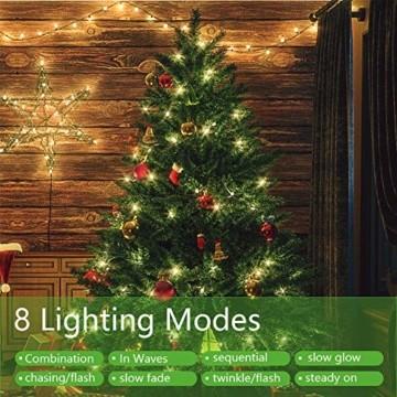 OUSFOT Weihnachtsbaum Künstlich 182cm 800 Äste mit 400er LED Lichterkette 8 Beleuchtungsmodi Schnellaufbau Material PVC inkl. Metallständer Warmweiß - 2