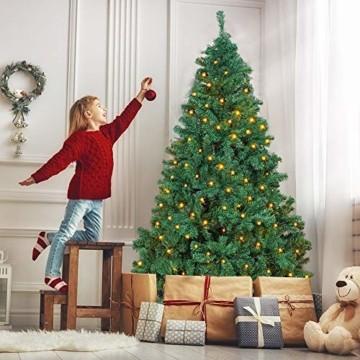 OUSFOT Weihnachtsbaum Künstlich 182cm 800 Äste mit 400er LED Lichterkette 8 Beleuchtungsmodi Schnellaufbau Material PVC inkl. Metallständer Warmweiß - 11