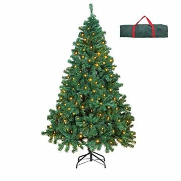 OUSFOT Weihnachtsbaum Künstlich 182cm 800 Äste mit 400er LED Lichterkette 8 Beleuchtungsmodi Schnellaufbau Material PVC inkl. Metallständer Warmweiß - 1