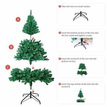 OUSFOT Weihnachtsbaum Künstlich 182cm 800 Äste mit 400er LED Lichterkette 8 Beleuchtungsmodi Schnellaufbau Material PVC inkl. Metallständer Warmweiß - 6