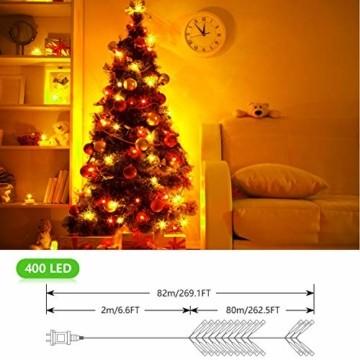 OUSFOT Weihnachtsbaum Künstlich 182cm 800 Äste mit 400er LED Lichterkette 8 Beleuchtungsmodi Schnellaufbau Material PVC inkl. Metallständer Warmweiß - 7