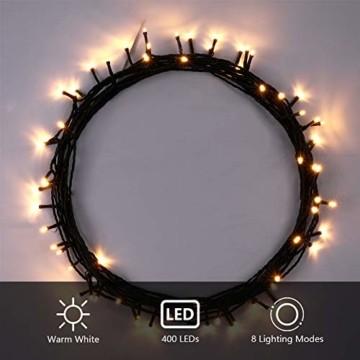 OUSFOT Weihnachtsbaum Künstlich 182cm 800 Äste mit 400er LED Lichterkette 8 Beleuchtungsmodi Schnellaufbau Material PVC inkl. Metallständer Warmweiß - 8