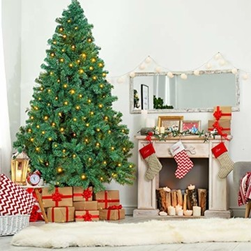 OUSFOT Weihnachtsbaum Künstlich 182cm 800 Äste mit 400er LED Lichterkette 8 Beleuchtungsmodi Schnellaufbau Material PVC inkl. Metallständer Warmweiß - 9