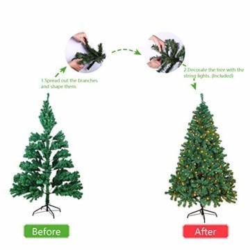 OUSFOT Weihnachtsbaum Künstlich 182cm 800 Äste mit 400er LED Lichterkette 8 Beleuchtungsmodi Schnellaufbau Material PVC inkl. Metallständer Warmweiß - 10