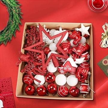 Petrichor Weihnachtskugeln 80er Set Christbaumkugeln Plastik Rot Weiß Weihnachtsbaum Schmuck für Weihnachtsbaum Dekoration Weihnachtsbaumschmuck Baumschmuck - 3