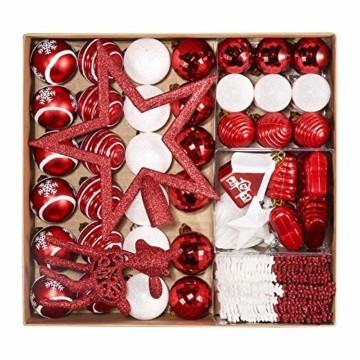 Petrichor Weihnachtskugeln 80er Set Christbaumkugeln Plastik Rot Weiß Weihnachtsbaum Schmuck für Weihnachtsbaum Dekoration Weihnachtsbaumschmuck Baumschmuck - 1
