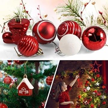 Petrichor Weihnachtskugeln 80er Set Christbaumkugeln Plastik Rot Weiß Weihnachtsbaum Schmuck für Weihnachtsbaum Dekoration Weihnachtsbaumschmuck Baumschmuck - 5
