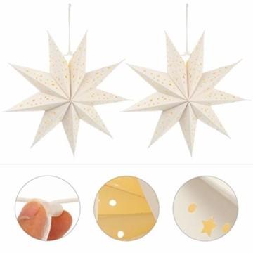 PIXNOR Papierstern Lampenschirm 35cm Papier Weihnachtsstern Adventsstern Weiß Neunzackiger Stern 3pcs Hängende Weihnachtsdeko Weihnachtsanhänger Hochzeit Weihnachten Party Dekoration - 2