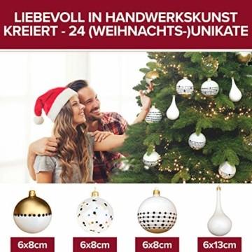 Pure Living Weihnachtskugeln Glas im wunderschönen Handwerk-Design - 24-tlg. Set mit exklusiven Christbaumkugeln Glas - Weihnachtsbaumkugeln in EU Premium-Qualität - Einzigartig-festlicher Baumschmuck - 3