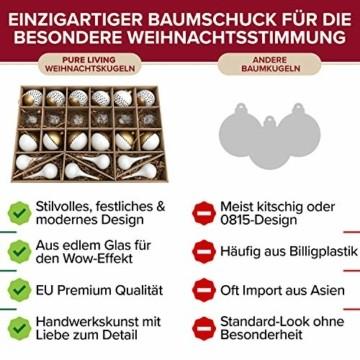 Pure Living Weihnachtskugeln Glas im wunderschönen Handwerk-Design - 24-tlg. Set mit exklusiven Christbaumkugeln Glas - Weihnachtsbaumkugeln in EU Premium-Qualität - Einzigartig-festlicher Baumschmuck - 5