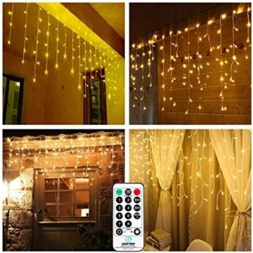 Qedertek 432 LED Lichterkette Eisregen Außen, 10.8M Weihnachtsbeleuchtung Lichtervorhang mit Steckdose, 8 Modi und 3 Timer Funktion und Dimmbar mit Fernbedienung, Deko Hochzeiten, Garten(Warmweiß) - 2