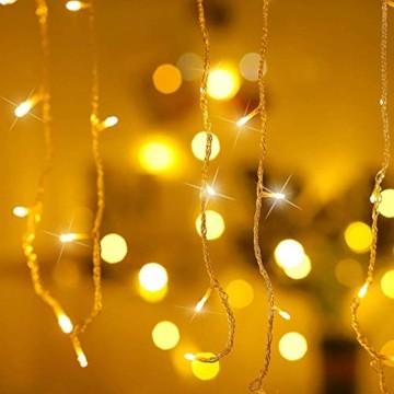 Qedertek 432 LED Lichterkette Eisregen Außen, 10.8M Weihnachtsbeleuchtung Lichtervorhang mit Steckdose, 8 Modi und 3 Timer Funktion und Dimmbar mit Fernbedienung, Deko Hochzeiten, Garten(Warmweiß) - 4