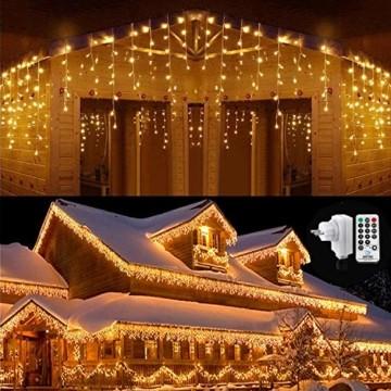 Qedertek 432 LED Lichterkette Eisregen Außen, 10.8M Weihnachtsbeleuchtung Lichtervorhang mit Steckdose, 8 Modi und 3 Timer Funktion und Dimmbar mit Fernbedienung, Deko Hochzeiten, Garten(Warmweiß) - 1