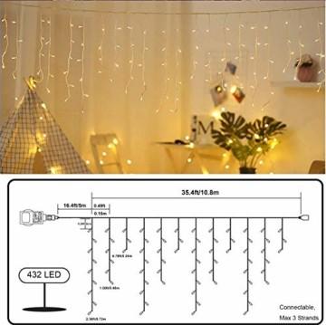 Qedertek 432 LED Lichterkette Eisregen Außen, 10.8M Weihnachtsbeleuchtung Lichtervorhang mit Steckdose, 8 Modi und 3 Timer Funktion und Dimmbar mit Fernbedienung, Deko Hochzeiten, Garten(Warmweiß) - 5