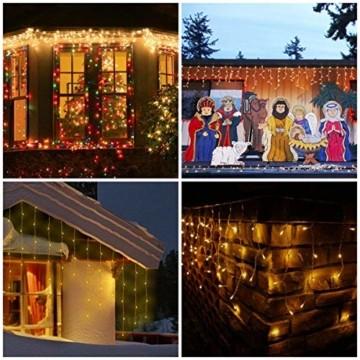 Qedertek 432 LED Lichterkette Eisregen Außen, 10.8M Weihnachtsbeleuchtung Lichtervorhang mit Steckdose, 8 Modi und 3 Timer Funktion und Dimmbar mit Fernbedienung, Deko Hochzeiten, Garten(Warmweiß) - 6