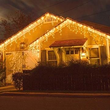 Qedertek 432 LED Lichterkette Eisregen Außen, 10.8M Weihnachtsbeleuchtung Lichtervorhang mit Steckdose, 8 Modi und 3 Timer Funktion und Dimmbar mit Fernbedienung, Deko Hochzeiten, Garten(Warmweiß) - 7