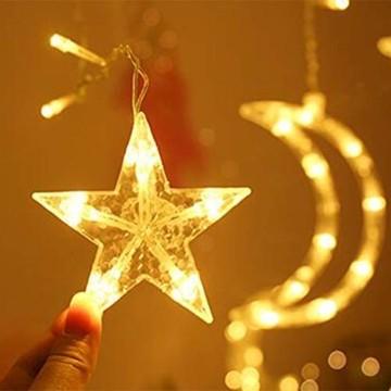 Queta Lichterkette Sternen Mond Lichtervorhang 138 LEDs Led Mond Sternenvorhang mit 8 Lichtermodi als Weihnachten oder Party Fester Deko Lichterkette für Innen & Außen Fernbedienung - 2