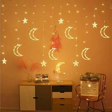 Queta Lichterkette Sternen Mond Lichtervorhang 138 LEDs Led Mond Sternenvorhang mit 8 Lichtermodi als Weihnachten oder Party Fester Deko Lichterkette für Innen & Außen Fernbedienung - 3