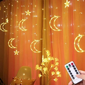 Queta Lichterkette Sternen Mond Lichtervorhang 138 LEDs Led Mond Sternenvorhang mit 8 Lichtermodi als Weihnachten oder Party Fester Deko Lichterkette für Innen & Außen Fernbedienung - 1