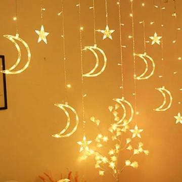 Queta Lichterkette Sternen Mond Lichtervorhang 138 LEDs Led Mond Sternenvorhang mit 8 Lichtermodi als Weihnachten oder Party Fester Deko Lichterkette für Innen & Außen Fernbedienung - 6
