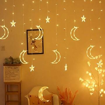 Queta Lichterkette Sternen Mond Lichtervorhang 138 LEDs Led Mond Sternenvorhang mit 8 Lichtermodi als Weihnachten oder Party Fester Deko Lichterkette für Innen & Außen Fernbedienung - 7