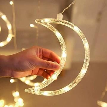 Queta Lichterkette Sternen Mond Lichtervorhang 138 LEDs Led Mond Sternenvorhang mit 8 Lichtermodi als Weihnachten oder Party Fester Deko Lichterkette für Innen & Außen Fernbedienung - 9