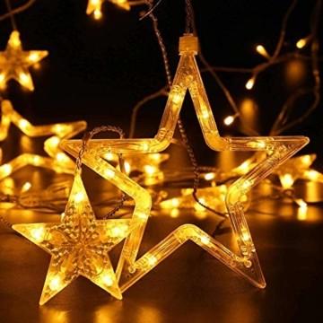 Quntis 138 LEDs 2m 12 Sterne Lichterkette Sternenvorhang Warmweiß, Erweiterbare Weihnachtsbeleuchtung Innen Fenster, IP44 Lichtervorhang Strombetrieb Außen, 8 Modi Weihnachtsdeko für Zimmer Balkon - 2