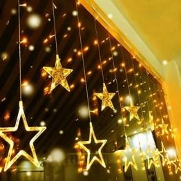 Quntis 138 LEDs 2m 12 Sterne Lichterkette Sternenvorhang Warmweiß, Erweiterbare Weihnachtsbeleuchtung Innen Fenster, IP44 Lichtervorhang Strombetrieb Außen, 8 Modi Weihnachtsdeko für Zimmer Balkon - 1