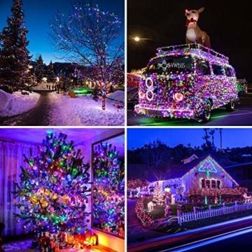 Quntis 20m 200 LED Lichterkette Außen Bunt, IP44 8 Modi Weihnachtsbeleuchtung Innen Strombetrieben, Weihnachtsdeko für Weihnachtsbaum Garten Balkon Terrasse Büsche Zimmer Fenster Wand Party Hochzeit - 2