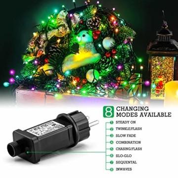 Quntis 20m 200 LED Lichterkette Außen Bunt, IP44 8 Modi Weihnachtsbeleuchtung Innen Strombetrieben, Weihnachtsdeko für Weihnachtsbaum Garten Balkon Terrasse Büsche Zimmer Fenster Wand Party Hochzeit - 4