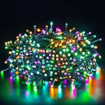 Quntis 20m 200 LED Lichterkette Außen Bunt, IP44 8 Modi Weihnachtsbeleuchtung Innen Strombetrieben, Weihnachtsdeko für Weihnachtsbaum Garten Balkon Terrasse Büsche Zimmer Fenster Wand Party Hochzeit - 1