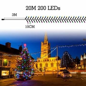 Quntis 20m 200 LED Lichterkette Außen Bunt, IP44 8 Modi Weihnachtsbeleuchtung Innen Strombetrieben, Weihnachtsdeko für Weihnachtsbaum Garten Balkon Terrasse Büsche Zimmer Fenster Wand Party Hochzeit - 6