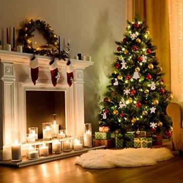 QYY 100 Stück Kleine Anhänger Holz Weihnachten Deko,Holz Christbaumschmuck weihnachtsbasteln Weihnachtsbaum Anhänger Weihnachtsdeko zum Aufhängen - 2