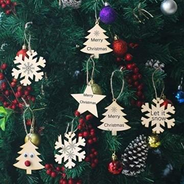 QYY 100 Stück Kleine Anhänger Holz Weihnachten Deko,Holz Christbaumschmuck weihnachtsbasteln Weihnachtsbaum Anhänger Weihnachtsdeko zum Aufhängen - 3
