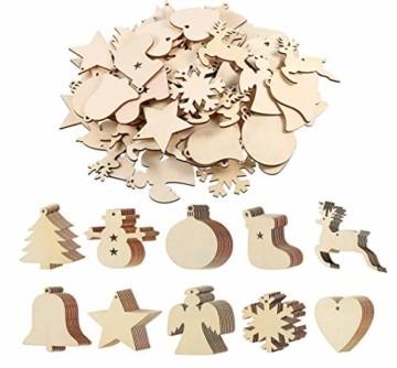 QYY 100 Stück Kleine Anhänger Holz Weihnachten Deko,Holz Christbaumschmuck weihnachtsbasteln Weihnachtsbaum Anhänger Weihnachtsdeko zum Aufhängen - 1