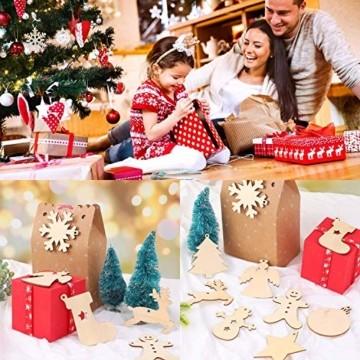 QYY 100 Stück Kleine Anhänger Holz Weihnachten Deko,Holz Christbaumschmuck weihnachtsbasteln Weihnachtsbaum Anhänger Weihnachtsdeko zum Aufhängen - 6