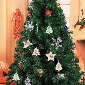 QYY 100 Stück Kleine Anhänger Holz Weihnachten Deko,Holz Christbaumschmuck weihnachtsbasteln Weihnachtsbaum Anhänger Weihnachtsdeko zum Aufhängen - 7