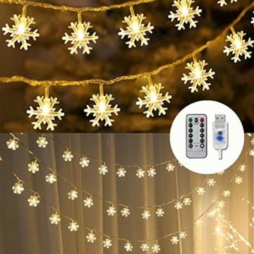 Remifa Led Lichterkette Schneeflocken Warmweiß 10M mit Fernbedienung und Timer Wasserdicht Lichterketten 8 Modi USB für Innen und Außen Zimmer Garten Weihnachten Dekoration Partylichterkette - 1