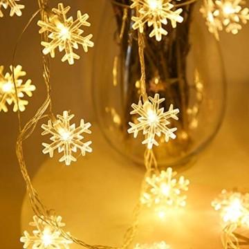 Remifa Led Lichterkette Schneeflocken Warmweiß 10M mit Fernbedienung und Timer Wasserdicht Lichterketten 8 Modi USB für Innen und Außen Zimmer Garten Weihnachten Dekoration Partylichterkette - 5