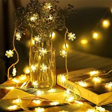 Remifa Led Lichterkette Schneeflocken Warmweiß 10M mit Fernbedienung und Timer Wasserdicht Lichterketten 8 Modi USB für Innen und Außen Zimmer Garten Weihnachten Dekoration Partylichterkette - 6