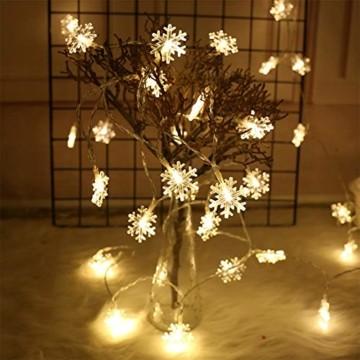 Remifa Led Lichterkette Schneeflocken Warmweiß 10M mit Fernbedienung und Timer Wasserdicht Lichterketten 8 Modi USB für Innen und Außen Zimmer Garten Weihnachten Dekoration Partylichterkette - 7