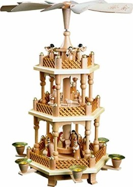 Richard Glässer Weihnachtspyramide Tischpyramide Erzgebirge Seiffen 2-stöckig Christi Geburt Natur, 16721, Höhe 40 cm - 1