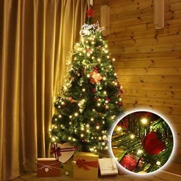 SALCAR 3m Christbaumbeleuchtung mit Ring, Weihnachtsbaum-Überwurf-Lichterkette mit 10 Girlanden 350er LED Lichterkette Wasserdicht für 120cm - 350cm baum, tannenbaum, grüngürtel, busche - Warmweiß - 2