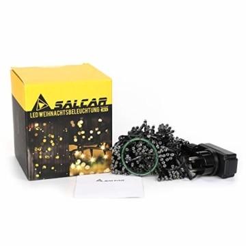 SALCAR 3m Christbaumbeleuchtung mit Ring, Weihnachtsbaum-Überwurf-Lichterkette mit 10 Girlanden 350er LED Lichterkette Wasserdicht für 120cm - 350cm baum, tannenbaum, grüngürtel, busche - Warmweiß - 5