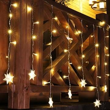 SALCAR 3m LED Lichtervorhang, 18er schneeflocke LED Lichterkette, Wasserdicht Innen/Außen Weihnachtsdeko 108er Leuchtioden Lichtervorhang Sternenvorhang - Warmweiß - 2