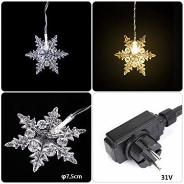 SALCAR 3m LED Lichtervorhang, 18er schneeflocke LED Lichterkette, Wasserdicht Innen/Außen Weihnachtsdeko 108er Leuchtioden Lichtervorhang Sternenvorhang - Warmweiß - 3