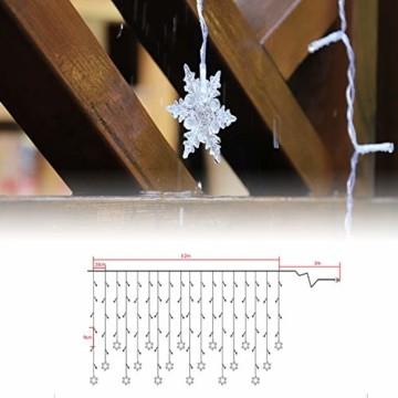 SALCAR 3m LED Lichtervorhang, 18er schneeflocke LED Lichterkette, Wasserdicht Innen/Außen Weihnachtsdeko 108er Leuchtioden Lichtervorhang Sternenvorhang - Warmweiß - 4
