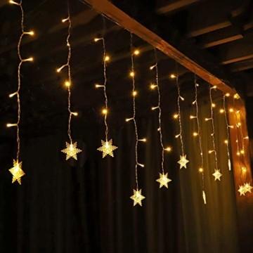 SALCAR 3m LED Lichtervorhang, 18er schneeflocke LED Lichterkette, Wasserdicht Innen/Außen Weihnachtsdeko 108er Leuchtioden Lichtervorhang Sternenvorhang - Warmweiß - 1