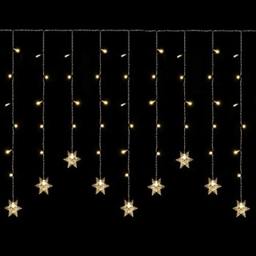 SALCAR 3m LED Lichtervorhang, 18er schneeflocke LED Lichterkette, Wasserdicht Innen/Außen Weihnachtsdeko 108er Leuchtioden Lichtervorhang Sternenvorhang - Warmweiß - 5